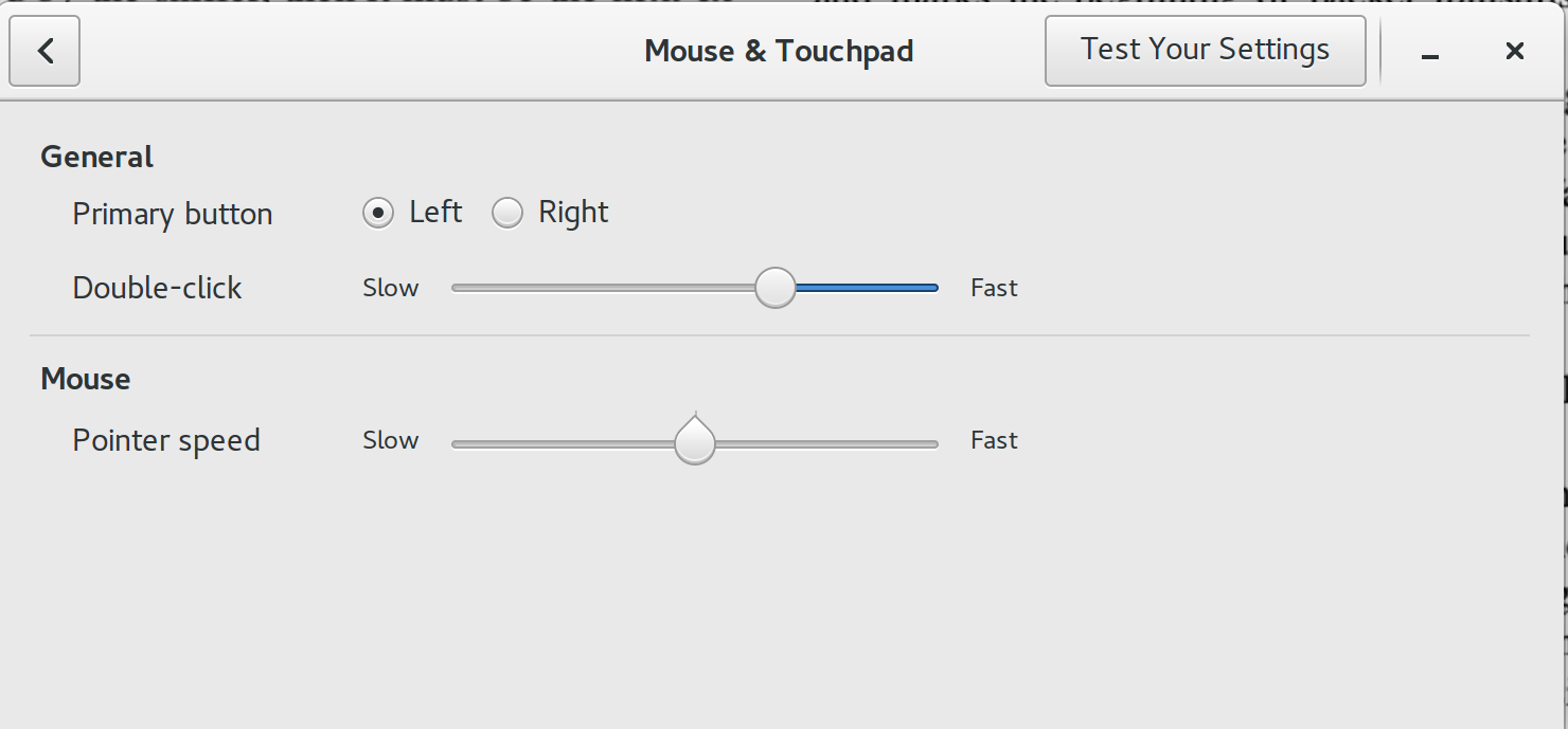 Screenshot of mouse settings window.