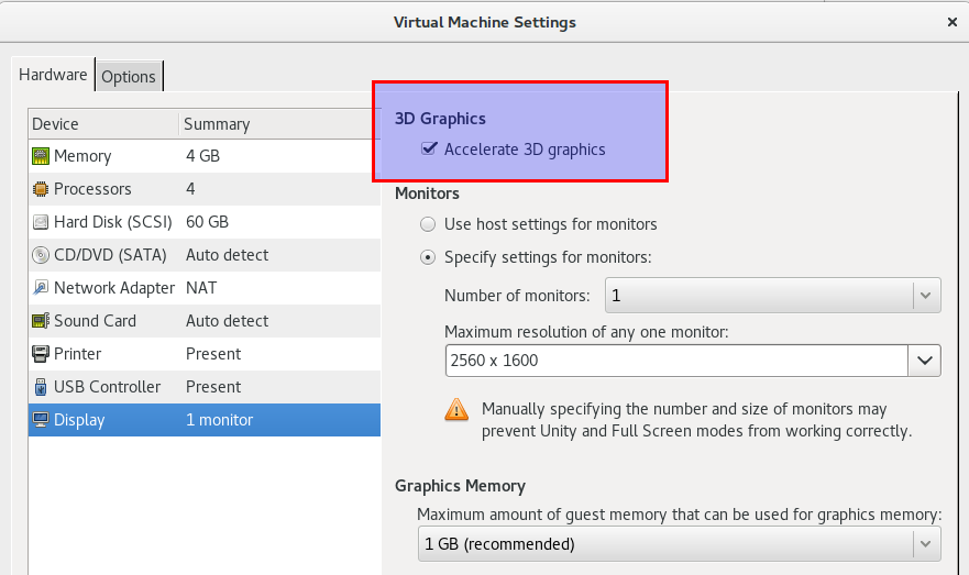 Enable 3D acceleration in VMWare Player settings.